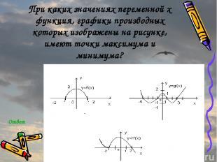 При каких значениях переменной x функция, графики производных которых изображены