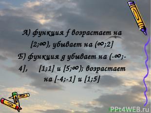 Перейти обратно А) функция f возрастает на [2;∞), убывает на (∞;2] Б) функция g