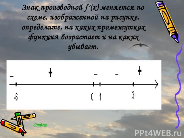 Знак производной f'(x) меняется по схеме, изображенной на рисунке. определите, на каких промежутках функция возрастает и на каких убывает. Ответ
