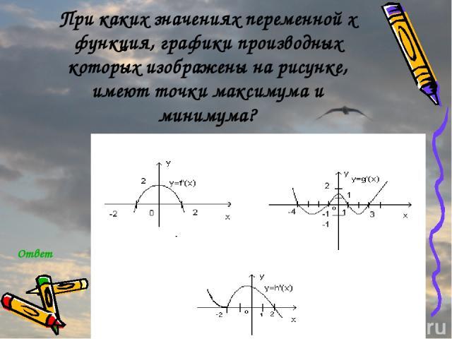 При каких значениях переменной x функция, графики производных которых изображены на рисунке, имеют точки максимума и минимума? Ответ