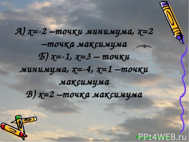 Перейти обратно А) x=-2 –точки минимума, x=2 –точка максимума Б) x=-1, x=3 – точки минимума, x=-4, x=1 –точки максимума В) x=2 –точка максимума