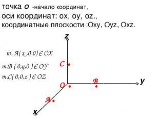 x y z точка О -начало координат, оси координат: ox, oy, oz., координатные плоско