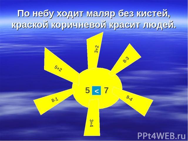 По небу ходит маляр без кистей, краской коричневой красит людей. 3+2 5+2 8-3 8-1 9-4 3+4 5 7