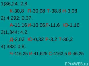 1)86,24: 2,8. К-30,8 П-30,08 Т-38,8 Н-3,08 2) 4,292: 0,37. А-11,16 И-10,06 Л-11,
