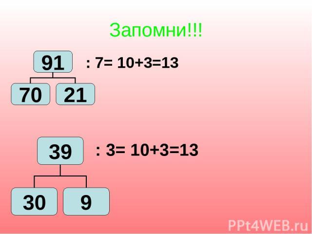 Запомни!!! : 7= 10+3=13 : 3= 10+3=13