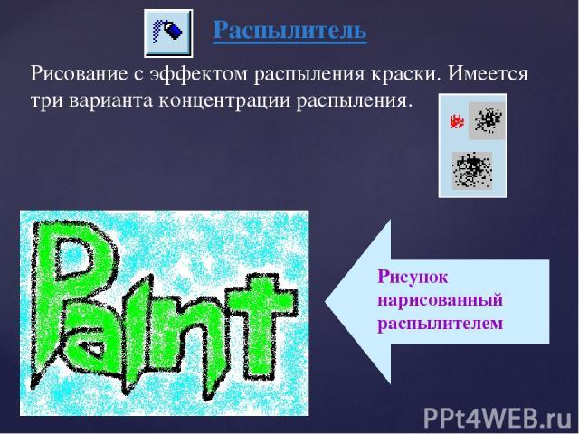 Распылитель Рисование с эффектом распыления краски. Имеется три варианта концентрации распыления.