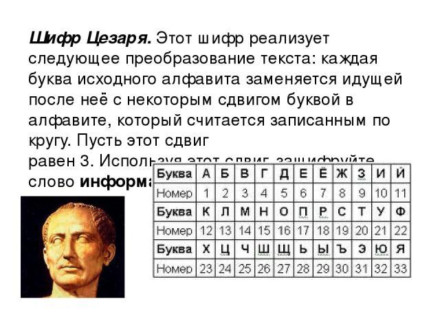 Шифр Цезаря. Этот шифр реализует следующее преобразование текста: каждая буква исходного алфавита заменяется идущей после неё с некоторым сдвигом буквой в алфавите, который считается записанным по кругу. Пусть этот сдвиг равен 3. Используя этот сдви…