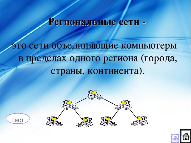 это сети объединяющие компьютеры в пределах одного региона (города, страны, континента). Региональные сети - тест