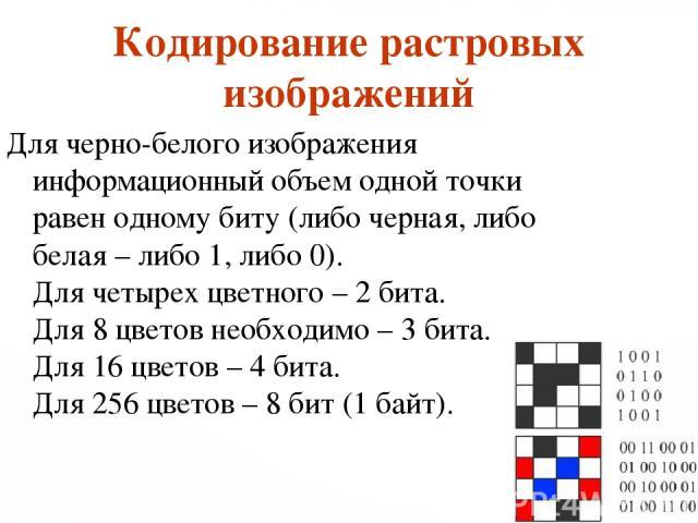 Кодирование растровых изображений Для черно-белого изображения информационный объем одной точки равен одному биту (либо черная, либо белая – либо 1, либо 0). Для четырех цветного – 2 бита. Для 8 цветов необходимо – 3 бита. Для 16 цветов – 4 бита. Дл…