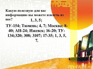 Какую полезную для вас информацию вы можете извлечь из нее? 1, 3, 5; ТУ-154; Тюм