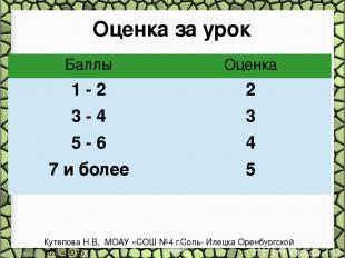 Оценка за урок Кутепова Н.В, МОАУ «СОШ №4 г.Соль- Илецка Оренбургской обл.»2016