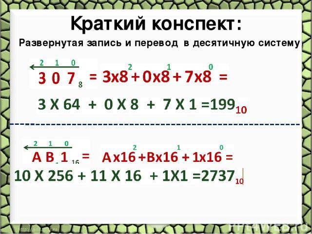 Краткий конспект: Развернутая запись и перевод в десятичную систему