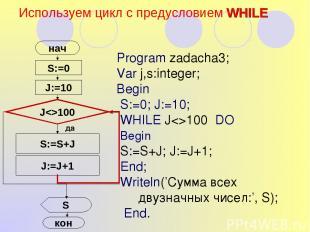 Используем цикл с предусловием WHILE S:=0 нач J:=10 S:=S+J J:=J+1 S Program zada