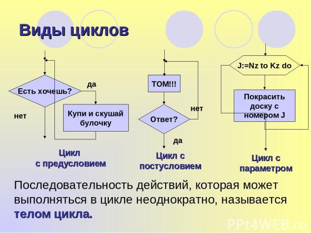 Виды циклов Цикл с предусловием Последовательность действий, которая может выполняться в цикле неоднократно, называется телом цикла.
