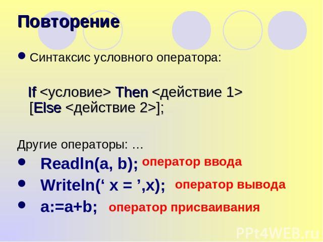 Синтаксис условного оператора: If Then [Else ]; Другие операторы: … Readln(a, b); Writeln(' x = ',x); a:=a+b; Повторение оператор ввода оператор вывода оператор присваивания