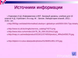 Источники информации Угринович Н.Д. Информатика и ИКТ. Базовый уровень: учебник