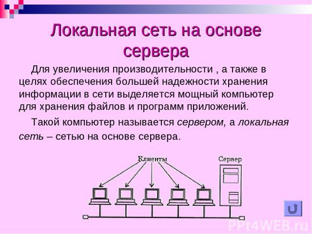 Локальная сеть на основе сервера Для увеличения производительности , а также в целях обеспечения большей надежности хранения информации в сети выделяется мощный компьютер для хранения файлов и программ приложений. Такой компьютер называется сервером…