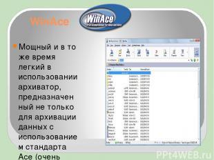 WinAce Мощный и в то же время легкий в использовании архиватор, предназначенный