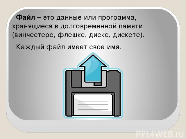 Файл – это данные или программа, хранящиеся в долговременной памяти (винчестере, флешке, диске, дискете). Каждый файл имеет свое имя.