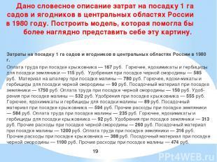 Затраты на посадку 1 га садов и ягодников в центральных областях России в 1980 г