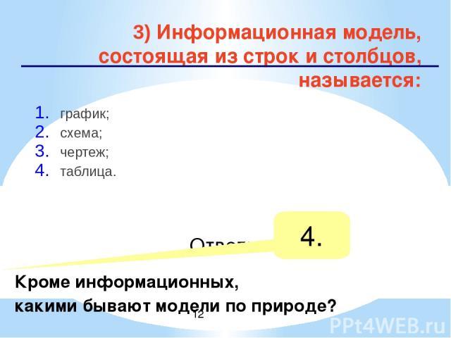 4) Каково общее название моделей, которые представляют собой совокупность полезной и нужной информации об объекте? материальные; информационные; предметные; словесные; Ответ: 2.