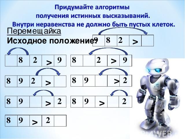 Перемещайка Исходное положение: > > > > > > > > 9 8 2 8 9 2 8 2 9 8 2 9 8 9 2 8 9 2 8 9 2 8 9 2