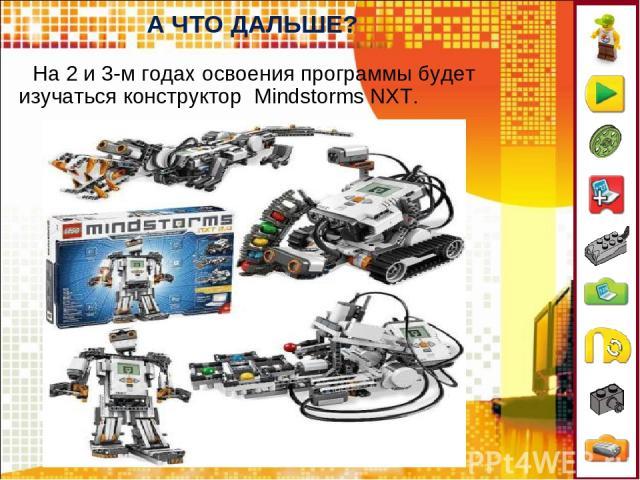 А ЧТО ДАЛЬШЕ? На 2 и 3-м годах освоения программы будет изучаться конструктор Mindstorms NXT.