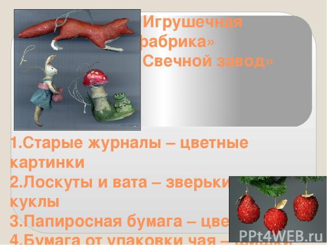 «Игрушечная фабрика» «Свечной завод» 1.Старые журналы – цветные картинки 2.Лоскуты и вата – зверьки и куклы 3.Папиросная бумага – цветы 4.Бумага от упаковки чая – шишки 5. Воск - свечи