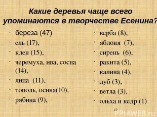 Какие деревья чаще всего упоминаются в творчестве Есенина? береза (47) ель (17),