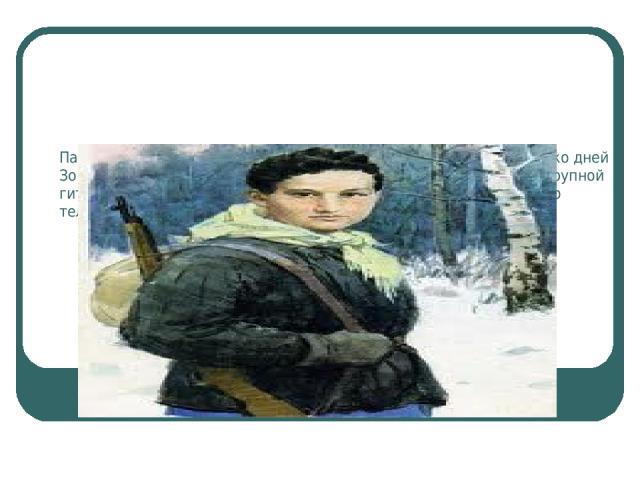 Партизаны жили в лесах, выполняя боевые задания. Через несколько дней Зоя пробралась в район деревни Петрищево, где находился штаб крупной гитлеровской части. Девушке удалось перерезать провода полевого телефона, поджечь конюшню.