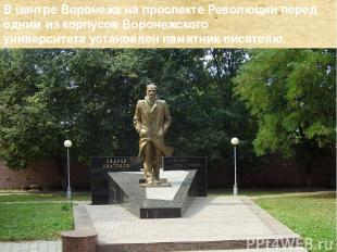 Вцентре Воронежа напроспекте Революцииперед одним из корпусовВоронежского ун
