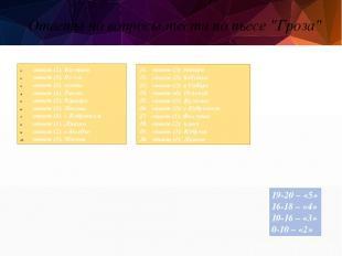 """Ответы на вопросы теста по пьесе """"Гроза"""" 11. ответ (3): гитара 12. ответ (2): ба"""