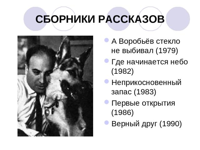 СБОРНИКИ РАССКАЗОВ А Воробьёв стекло не выбивал (1979) Где начинается небо (1982) Неприкосновенный запас (1983) Первые открытия (1986) Верный друг (1990)