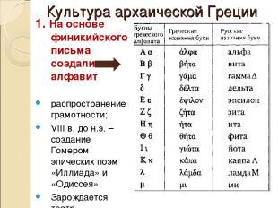 Культура архаической Греции 1. На основе финикийского письма создали алфавит рас