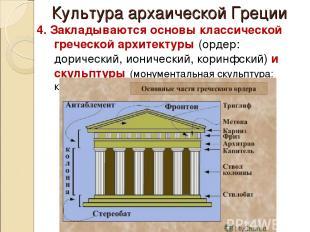 Культура архаической Греции 4. Закладываются основы классической греческой архит