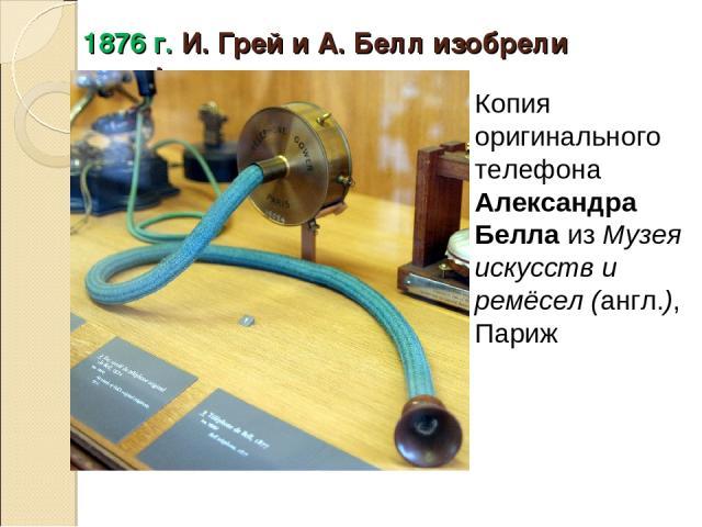 1876 г. И. Грей и А. Белл изобрели телефон Копия оригинального телефона Александра БеллаизМузея искусств и ремёсел(англ.), Париж