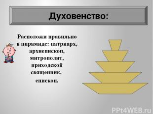 Духовенство Расположи правильно в пирамиде: патриарх, архиепископ, митрополит, п