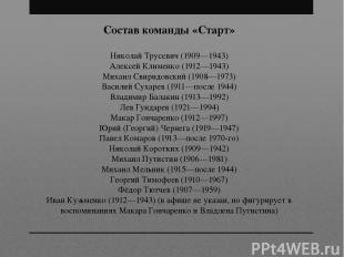Состав команды «Старт» Николай Трусевич (1909—1943) Алексей Клименко (1912—1943)
