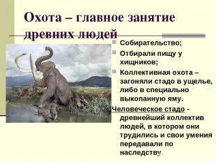 Охота – главное занятие древних людей Собирательство; Отбирали пищу у хищников;