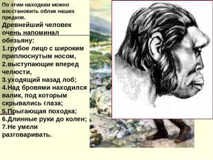 По этим находкам можно восстановить облик наших предков. Древнейший человек очен
