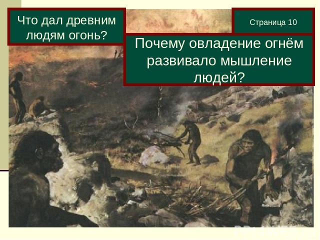 Страница 10 Что дал древним людям огонь? Почему овладение огнём развивало мышление людей?