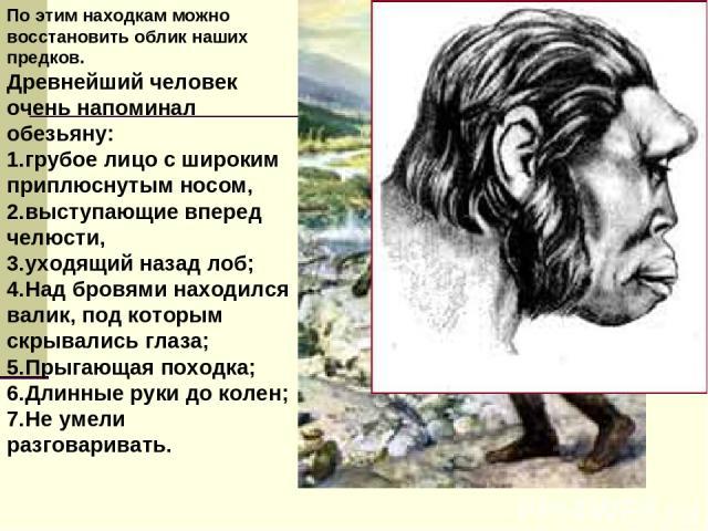 По этим находкам можно восстановить облик наших предков. Древнейший человек очень напоминал обезьяну: грубое лицо с широким приплюснутым носом, выступающие вперед челюсти, уходящий назад лоб; Над бровями находился валик, под которым скрывались глаза…