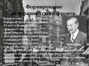 Формирование антифашистского фронта. В апреле—мае 1936 г. на выборах Народный фр