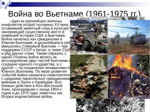 Война во Вьетнаме (1961-1975 гг.) - один из крупнейших военных конфликтов второй