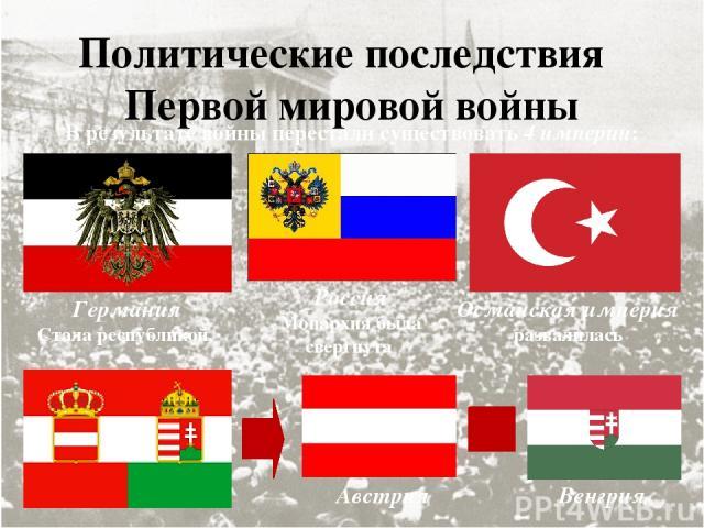 Политические последствия Первой мировой войны В результате войны перестали существовать 4 империи: Германия Стала республикой. Россия Монархия была свергнута Османская империя развалилась Австрия Венгрия