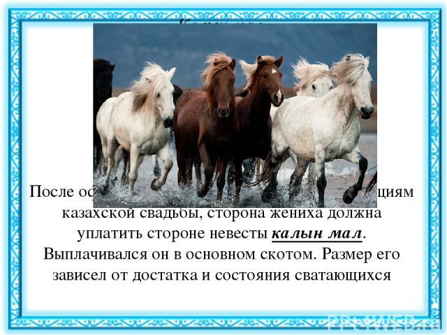 Калын мал (калым) После официальной части сватовства, по традициям казахской свадьбы, сторона жениха должна уплатить стороне невесты калын мал. Выплачивался он в основном скотом. Размер его зависел от достатка и состояния сватающихся