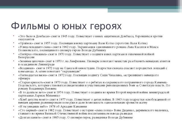 «Это было в Донбассе»снят в1945 году. Повествует о юных защитниках Донбасса, боровшихся против оккупантов «Это было в Донбассе»снят в1945 году. Повествует о юных защитниках Донбасса, боровшихся против оккупантов «Орлёнок»&nbs…