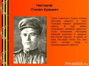 Нестеров Степан Кузьмич Герой Советского Союза Степан Нестеров родился в селе Та