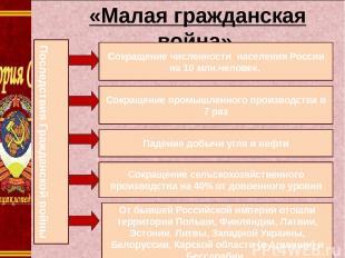 1. « «Малая гражданская война» Сокращение численности населения России на 10 млн