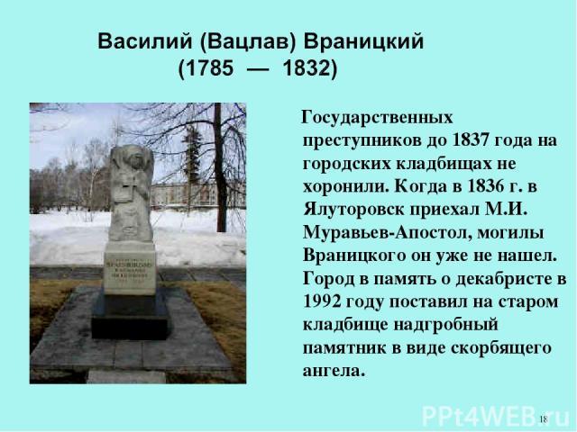 Государственных преступников до 1837 года на городских кладбищах не хоронили. Когда в 1836 г. в Ялуторовск приехал М.И. Муравьев-Апостол, могилы Враницкого он уже не нашел. Город в память о декабристе в 1992 году поставил на старом кладбище надгробн…